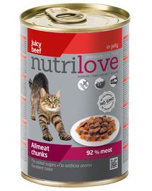 NUTRILOVE Premium - Bucăți de carne de vită în jeleu, pentru pisici - 400g