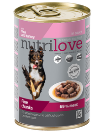 NUTRILOVE - Bucăți premium de carne - vițel și curcan în sos pentru câini - 415g