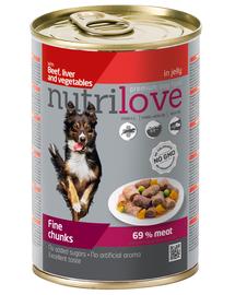 NUTRILOVE Premium bucăți cu carne de vită, ficat și legume în jeleu pentru câini 415g