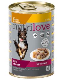 NUTRILOVE Premium bucăți cu pui și tăiței în jeleu pentru câini 415g