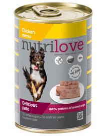NUTRILOVE Premium hrană umedă sub formă de pate pentru câini, cu pui 400g