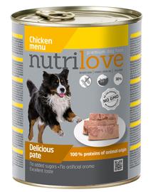 NUTRILOVE Premium pate de pui pentru câini 800g