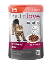 NUTRILOVE Bucăți de vita premium în sos, pentru pisică  85g