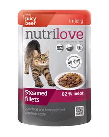 NUTRILOVE Bucăți de carne premium cu carne de vită în jeleu pentru pisici 85g