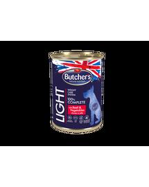 BUTCHER'S Blue+ Light hrana umeda pentru caini, cu vita si legume in sos 400 g (5 + 1 GRATIS)