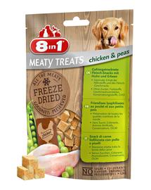 8IN1 Recompense pentru caini uscate prin congelare cu pui si mazare 2 x 50 g + geanta pentru recompense