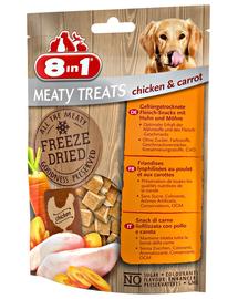 8IN1 Recompense pentru caini uscate prin congelare cu pui si morcovi  2 x 50 g + geanta pentru recompense