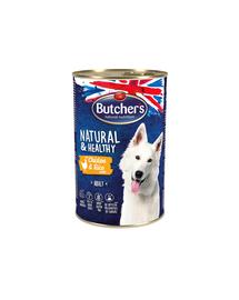 BUTCHER'S Natural&Healthy Dog hrana umeda pentru caini, pate cu pui si orez 1200 g (3 + 1 GRATIS)