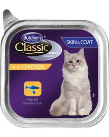 BUTCHER'S Classic Skin&Coat Cat hrana umeda pisici, pate cu pui 100 g (3 + 1 GRATIS)