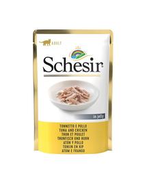 SCHESIR Hrana umeda pentru pisicile adulte, cu ton si pui, 85 g
