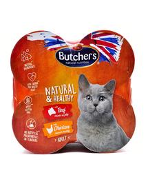 BUTCHER'S Natural&Healthy Cat hrana umeda pisici adulte, cu pui si vita 24 x 400 g (20x400g + 4x400g GRATIS)