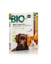 PESS BIO Spot-on picaturi protectie anti-capuse, purici pentru caini mici si pisici 4x1 g cu ulei de neem