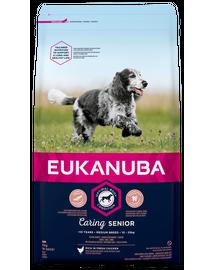 EUKANUBA Caring Senior Medium Breed hrana uscata caini seniori talie medie, bogat in pui 15kg