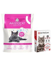 Dr PetCare MAX zgarda protectie pisici impotriva puricilor si a insectelor 43 cm + ARISTOCAT Nisip pentru litiera pisicilor, silica fara miros 3.8 L