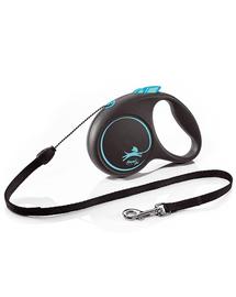 FLEXI Black Design lesa automata cu banda pentru caini, negru cu albastru, marimea S, 5 m