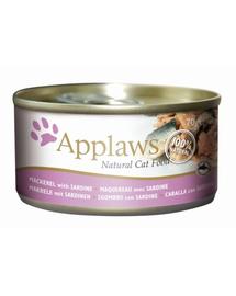 APPLAWS hrana umeda pentru pisici, cu macrou si sardine 70 g x 12 (10+2 GRATIS)