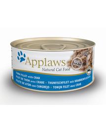 APPLAWS hrana umeda pentru pisici, cu ton si crab 70 g x 12 (10+2 GRATIS)