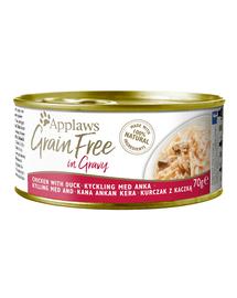 APPLAWS Cat Grain Free hrana umeda pentru pisici, cu pui si rata in sos 70 g x 12 (10+2 GRATIS)