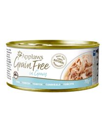 APPLAWS Cat Grain Free hrana umeda pentru pisici, cu ton in sos 70 g x 12 (10+2 GRATIS)