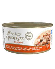 APPLAWS Cat Grain Free hrana umeda pentru pisici cu vita in sos de rosii 70 g x 12 (10+2 GRATIS)