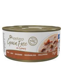 APPLAWS Cat Grain Free hrana umeda pentru pisici cu vita in sos 70 g x 12 (10+2 GRATIS)