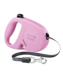 FERPLAST Flippy One Tape S Lesa automata cu banda pentru caini 4 m, roz
