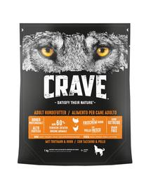 CRAVE Hrana uscata fara cereale pentru caini cu curcan si pui 5x1kg