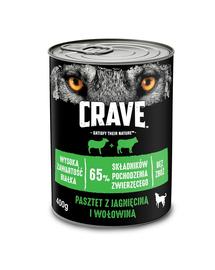 CRAVE Hrana umeda fara cereale pentru caini adulti pate de miel si vita cutie de 24x400g