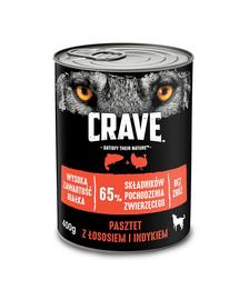 CRAVE Hrana umeda pentru caini adulti pate cu somon si curcan cutie 24x400g