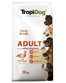 TROPIDOG Premium Adult M&L rata si orez 12 kg hrana uscata pentru caini de rase medii si mari