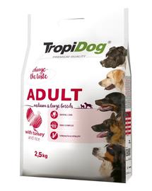 TROPIDOG Premium Adult M&L curcan si orez 2,5 kg hrana uscata pentru caini de rase medii si mari