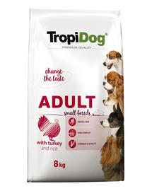 TROPIDOG Premium Adult S curcan si orez 8 kg hrana uscata pentru caini de rasa mica