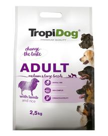 TROPIDOG Premium Adult M&L miel si orez 2,5 kg hrana uscata pentru caini de rasa medie si mare