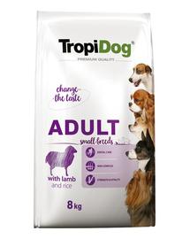 TROPIDOG Premium Adult S miel si orez 8 kg hrana uscata pentru caini de rasa mica