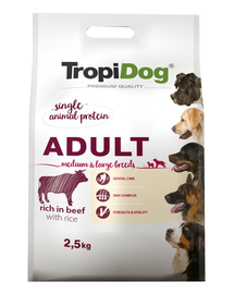 TROPIDOG Premium Adult M&L carne de vita si  orez 2,5 kg hrana uscata pentru caini de rase medii si mari