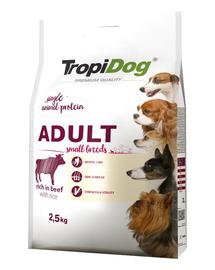 TROPIDOG Premium Adult S carne de vita si orez 2,5 kg hrana uscata pentru caini de rasa mica