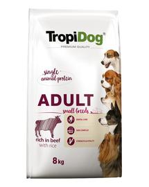 TROPIDOG Premium Adult S carne de vita si orez 8 kg hrana uscata pentru caini de rase mici