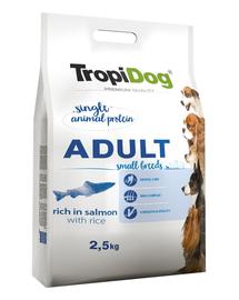 TROPIDOG Premium Adult S somon si orez 2,5 kg hrana uscata pentru caini de rase mici