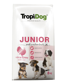 TROPIDOG Premium Junior S&M curcan si orez  8 kg hrana uscata pentru pui de rasa mica si medie