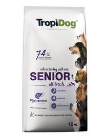TROPIDOG Premium Senior curcan si orez 12 kg hrana uscata pentru caini mai in varsta