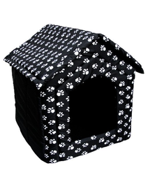 PETSBED Pat pentru caini, negru cu model alb 60 x 57 cm