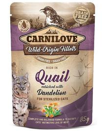CARNILOVE hrana pentru pisici sterilizate, prepelita si papadie 85g