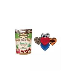 CARNILOVE SET Crunchy Snacks recompense pentru pisici, cu rata si zmeura 50 g + Trixie jucarie plus cu valeriana