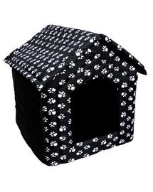 PETSBED Pat pentru caini, negru cu model alb 53 x 48 cm