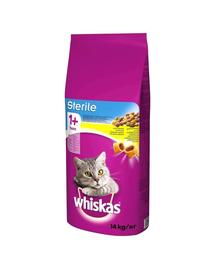 WHISKAS Sterile hrana uscata pentru pisici adulte sterilizate 14kg + DREAMIES cu pui GRATIS