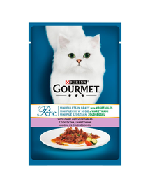 GOURMET Perle hrana umeda pentru pisici, carne de vanat si legume 24x85 g