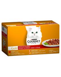 GOURMET Gold hrana umeda pentru pisici, vita in sos, curcan si rata, pui si ficat, somon si pui 48x85g