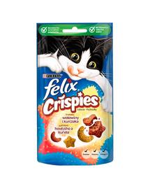 FELIX Crispies Recompense cu aroma de vita si pui pentru pisici adulte 8x45g