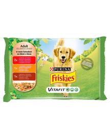 FRISKIES Vitafit Hrana umeda cu mix de carne pentru cainii adulti 4x100g