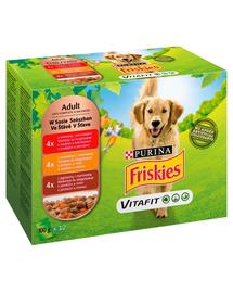 FRISKIES Vitafit Hrana umeda cu mix de carne pentru caini adulti 12x100g